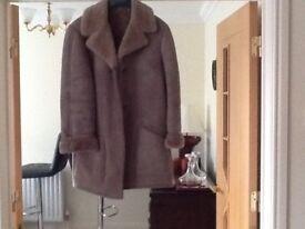 Ladies Sheepskin Coat, three quarter length, moleskin colour SIZE 14, excellent condition