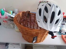 BRAND NEW bike basket and helmet