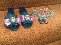 Princess Ariel Shoes, Tiara & Clip on Earrings