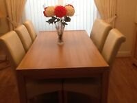 Large dining table and six chairs immaculate £250