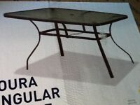 Glass and Metal Garden Patio Table BRAND NEW IN BOX REDUCED TO £65