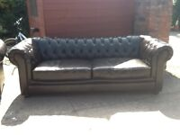 Leather chesterfield suite 3 seater 1 chair dark brown leather very good condition £499 can deliver