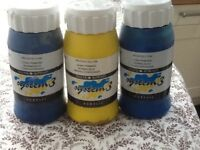Dealer Rowney System 3 Acrylic Paint - 3x 500 ml. Suitable for art projects