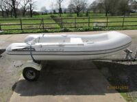 Inflatable boat rib dinghy Honda 2.3 outboard motor boat engine bunked rib trailer