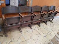 Vintage Row of 5 Theater, Church Chairs Mid-Century Seats Nostalgic