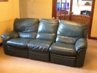 Leather 3-piece suite in Forest Green