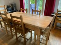 Rustic Pine Dining Table for 6/8 people plus 2 carver chairs and 4 chairs