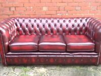 OXBLOOD RED LEATHER CHESTERFIELD 3 SEATER SOFA CLASSIC CHESTERFIELD MADE TO LAST YEARS CAN DELIVER