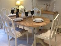 Lovely extending double pedastal dining table and 4 chairs finished in Farrow & Ball