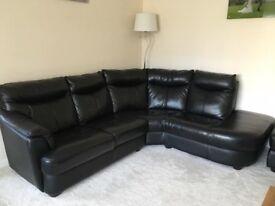 Real Black Leather Corner Sofa/Black Leather 2 Seater Sofa/Black Leather Ottoman Storage Footstool