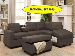 GREY SECTIONAL COUCH WITH CUP HOLDER AND STORAGE IN COUCH WITH OTTOMAN FOR 799$ ONLY