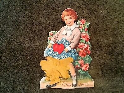 Valentine Card, Boy with basket of Flowers fold out - Vintage