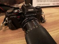 Vintage film SLR camera. Pentax Program A - With Pentax strap.