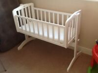 Baby Wooden Swinging Crib Cot Bed With Mattress Very Good Condition