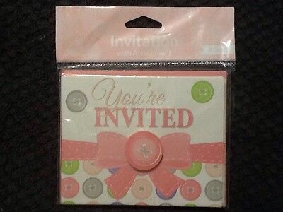 Creative Converting Cute As A Button Girl Invitations 8ct. Shower Party Supplies - Cute As A Button Invitations
