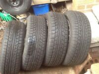 4 X SNOW + MUD TYRES 215 60 16 ON SUBARU FORESTER ALLOY WHEELS VERY GOOD TREAD