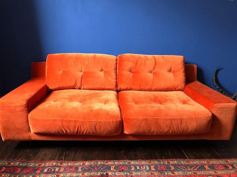 Habitat Hendricks 2 Seater Velvet Orange Sofa In Lewisham London Gumtree