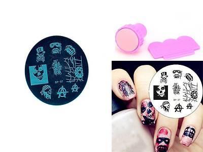 Nail Art Stamping Cool Skull Eye Template Image Plate Stamper Scraper Kit BP 57