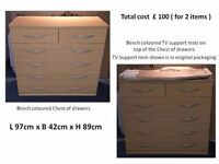 Beech coloured chest of drawers complete with TV stand