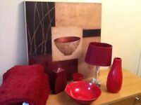 Dunelm - red lamp and picture, throws, rug and room accessorise