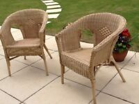 A pair or individual woven Rattan Chairs or Chair