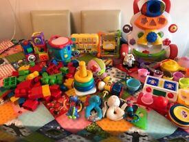 toys 0 to 2 year old (blocks, walker, kitchen, singing bus, drum, singing ball, etc.)
