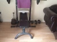Bench , seperate rack, bars and 70kg metal weights