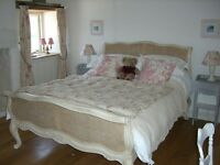 French Style Rattan King Size Bed Frame