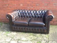 LEATHER CHESTERFIELD ANTIQUE BROWN LEATHER 2 SEATER SOFA £350 CAN DELIVER
