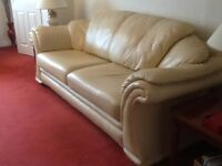 Cream Italian Leather 3 Piece Suite - 3 seater and 2 arm chairs