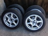 "full set of retro fox 15"" alloys 4x100 pcd come with as new 195/55/15 tyres.."