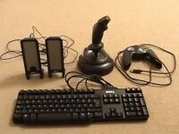 DELL SPEAKERS, KEYBOARD, CONTROLLER AND JOYSTICK