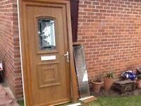 UPVC FRONT DOOR & FRAME INC SIDE WINDOW,WOOD GRAINED EFFECT.
