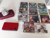 Nintendo DS XL Red console, case & selection of games (aged 3 yrs+ to 7 yrs+)