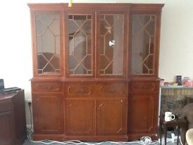 writing desk and display cabinet