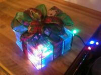 Lit Glass Blocks for sale. LED lights.Wired ribbon.Perfect Gifts