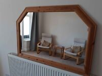 Mirror , Large, Shaped Top Pine