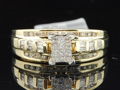 Ladies 10K Yellow Gold Princess & Round Cut Diamond Engagement Ring Wedding Band