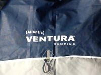 Ventura awning in two tone blue with fibre poles