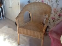 Wicker chair good condition pine coloured