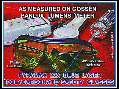 Blue Uv Laser Coated Polycarbonate Pyramax Brand 22x Attenuation Safety Goggle