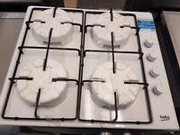 Yob03 white beko 4 burner gas hob comes with warranty can be delivered or collected