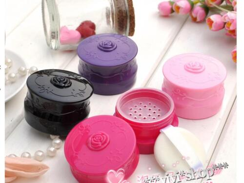 Vintage Rose Pattern Portable Travel mini Loose Powder Container w / Puff  *s160