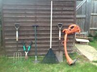 Garden hand tools for, rake, spade etc