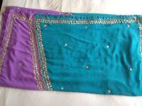 Lilac and Aqua Sari For Sale