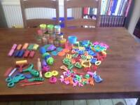 Play-Doh, other dough, tools, letters, shapes and funny face accessories