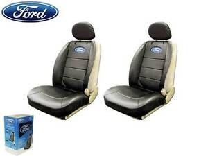 Ford Elite Seat Covers Black Synthetic Leather W/ Pocket Fast Shipping