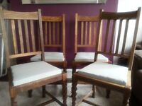 4 1940' oak chairs with new seat padding
