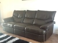 Brown Leather 3 seat recliner sofa, very comfy, buyer to collect