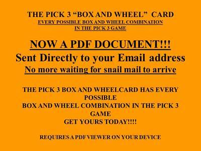 Lottery System Pick 3 Box And Wheel Card  Pdf Doc Every Possible Combination